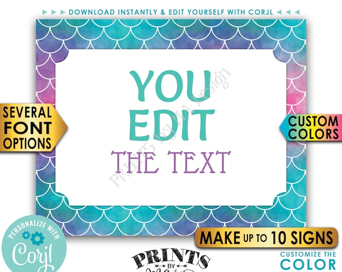 "Custom Mermaid Signd, Choose Your Text Mermaid Party, Up to 10 PRINTABLE 8x10/16x20"" Landscape Mermaid Signd <Edit Yourself with Corjl>"