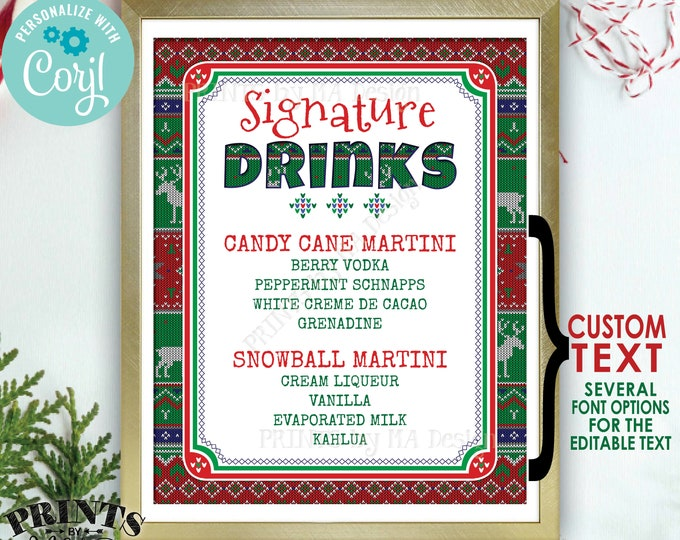 "Signature Drinks Sign, Ugly Christmas Sweater Party, X-mas Party Drinks, Custom PRINTABLE 8x10/16x20"" Sign <Edit Yourself with Corjl>"
