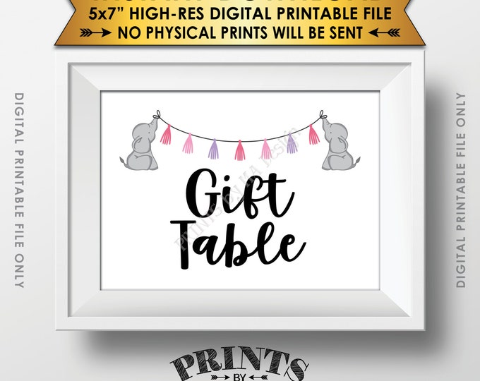"Elephant Baby Shower Gifts Table Sign, Cards & Gifts Table Sign, Gifts Sign, Pink Baby Shower Decor, Instant Download 5x7"" Printable Sign"
