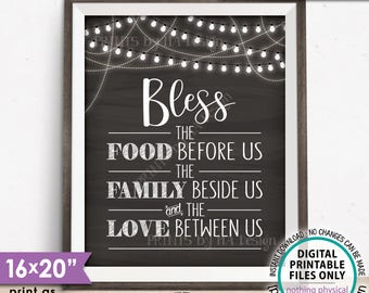 Bless the Food Before Us The Family Beside Us the Love Between Us Kitchen Wall Decor, Family Blessings, PRINTABLE Chalkboard Style Sign <ID>
