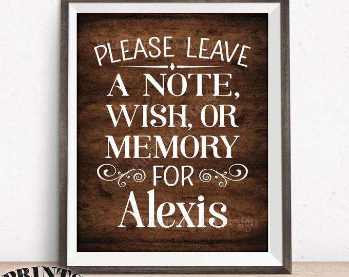 "Please Leave a Note Wish or Memory Sign, Leave a Message Sign, Custom PRINTABLE 8x10/16x20"" Dark Brown Rustic Wood Style Sign"