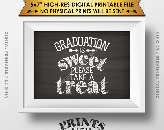 """Graduation Party Decoration, Graduation is Sweet Please Take a Treat Graduation Sign, 5x7"""" Chalkboard Style Printable File, Instant Download"""