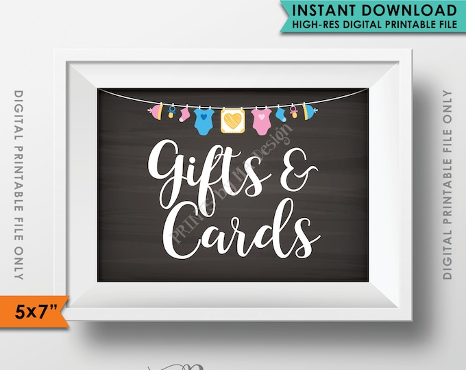 """Gifts and Cards Sign, Baby Shower Decor, Cards and Gifts Table Sign, Neutral Clothesline, Instant Download 5x7"""" Chalkboard Style Printable"""