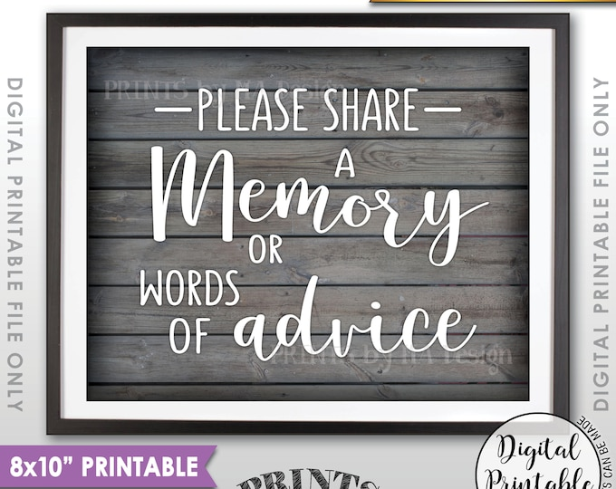 "Share a Memory or Words of Advice Sign, Share Memories, Write a Memory, Graduation Party, 8x10"" Rustic Wood Style Printable Instant Download"