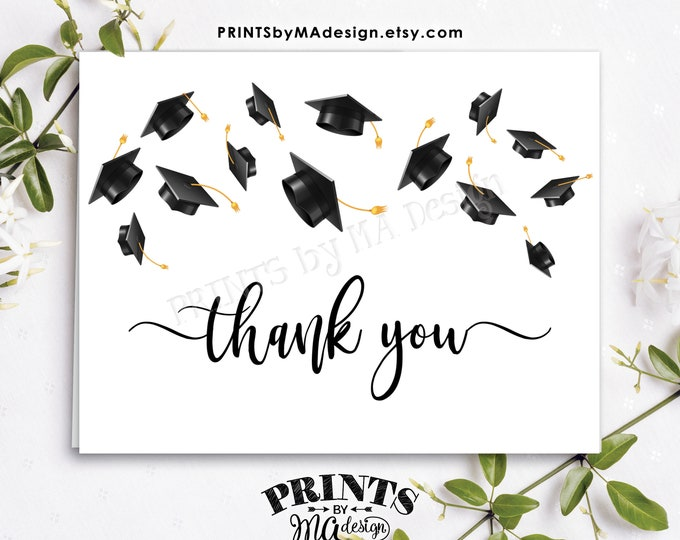 "Graduation Thank You Card, Graduation Party, PRINTABLE 4.25x5.5"" folded, 8.5x5.5"" Grad Thanks Card <ID>"
