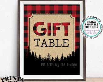 "Lumberjack Gift Table Sign, Gifts & Cards Sign, Red Checker Buffalo Plaid Christmas Decor, PRINTABLE 8x10"" Lumberjack Style Gift Sign <ID>"