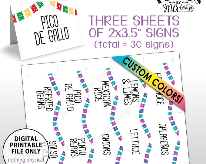 """Taco Bar Labels, Fiesta Mini Menu Signs, Custom Color Flags Place Cards, 3 PRINTABLE 8.5x11"""" Sheets of Thirty 2""""x3.5"""" Labels"""