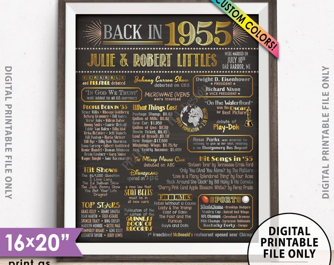 """Back in 1955 Poster, Anniversary Gift, Flashback to 1955 Anniversary Party Decorations, Custom PRINTABLE 16x20"""" Sign"""