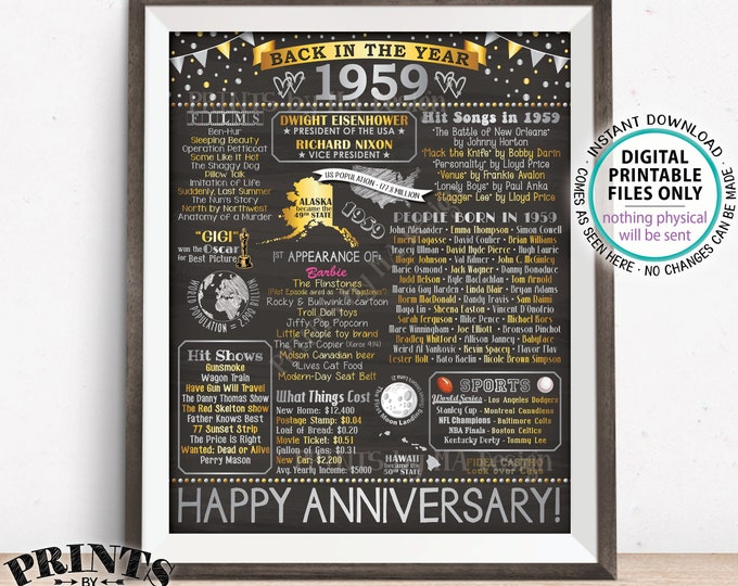"""Back in 1959 Anniversary Poster Board, Flashback to 1959, Silver Anniversary Decor, PRINTABLE 16x20"""" Sign, Gift <ID>"""