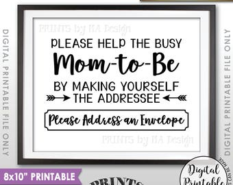 "Baby Shower Address Envelope Sign, Help the Mom-to-Be Address an envelope Thank You Envelope, Shower Decor, 8x10"" Printable Instant Download"