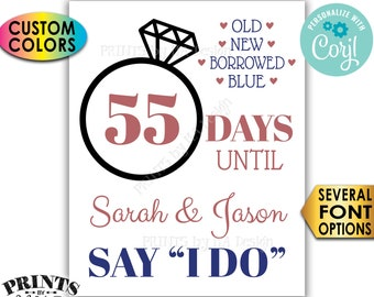 "Wedding Countdown Sign, Days Until They Say I Do, Bridal Shower, Engagement Party, PRINTABLE 8x10/16x20"" Sign <Edit Yourself with Corjl>"