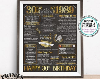 "30th Birthday Gift, Flashback 30 Years Ago Back in 1989 Born in 1989 Birthday, Gold, PRINTABLE 8x10/16x20"" Chalkboard Style B-day Sign <ID>"