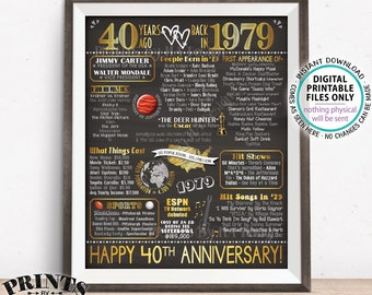 "40th Anniversary Gift, Married in 1979 Anniversary Flashback 40 Years Back in 1979, Gold, PRINTABLE 8x10/16x20"" Chalkboard Style Sign <ID>"