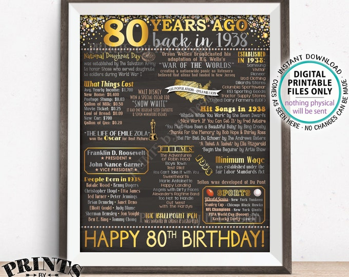 """80th Birthday Gift, Back in 1938 Birthday Poster. Flashback to 1938, 80 Years Ago '38, PRINTABLE 8x10/16x20"""" Chalkboard Style 1938 Sign <ID>"""