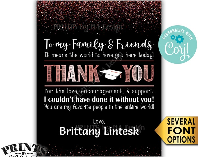 "Graduation Thank You Sign, PRINTABLE 8x10/16x20"" Black & Rose Gold Glitter Graduation Party Decoration <Edit Yourself with Corjl>"