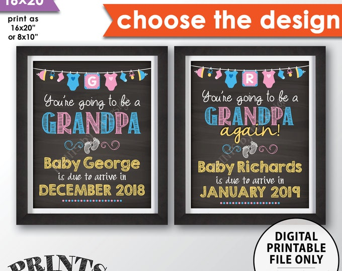 """Going to be a GRANDPA Pregnancy Announcement, Grandpa Again, Grandfather, Papa, We're Pregnant, PRINTABLE 8x10/16x20"""" Chalkboard Style Sign"""