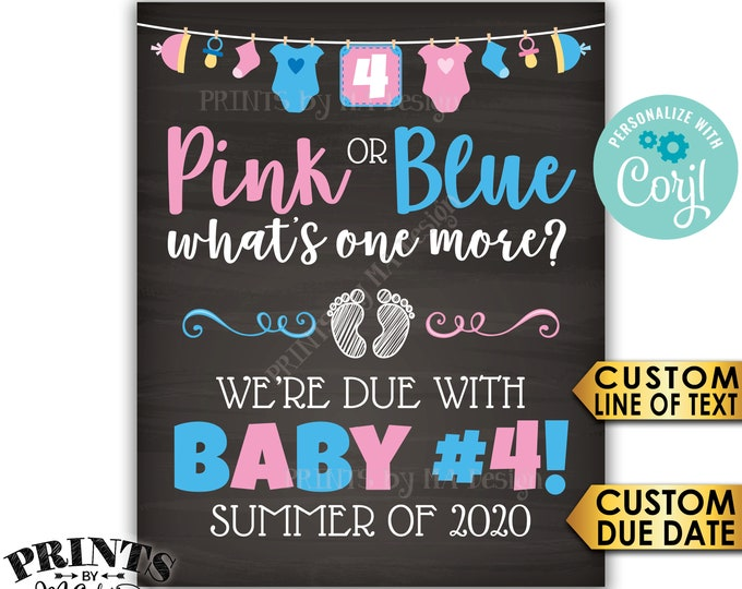 Baby Number 4 Pregnancy Announcement, Pink or Blue What's One More? PRINTABLE Chalkboard Style Baby #4 Sign <Edit Yourself with Corjl>