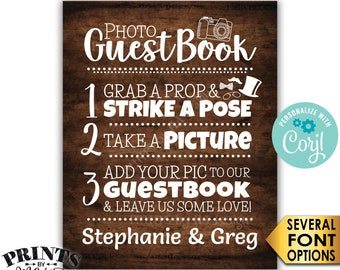"Wedding Photo Guestbook Sign, Add your photo & Leave Us Some Love, PRINTABLE Rustic Wood Style 8x10""/16x20"" Sign <Edit Yourself with Corjl>"