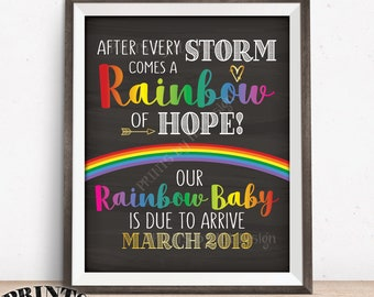 """Rainbow Baby Pregnancy Announcement, Pregnancy Reveal After Loss, Hope after Storm, Chalkboard Style PRINTABLE 8x10/16x20"""" Rainbow Baby Sign"""