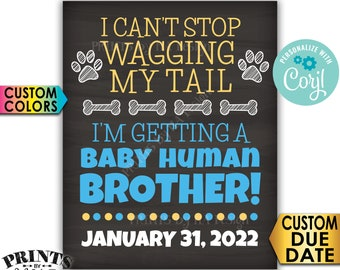 Dog Gender Reveal Sign, I'm Getting a Baby Human Brother, PRINTABLE Chalkboard Style Pregnancy Announcement Sign <Edit Yourself with Corjl>