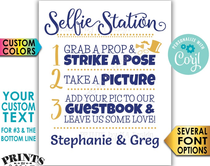 "Selfie Station Sign, Custom Step Number 3 and Bottom Line of Text, Custom Colors, PRINTABLE 8x10/16x20"" Sign <Edit Yourself with Corjl>"