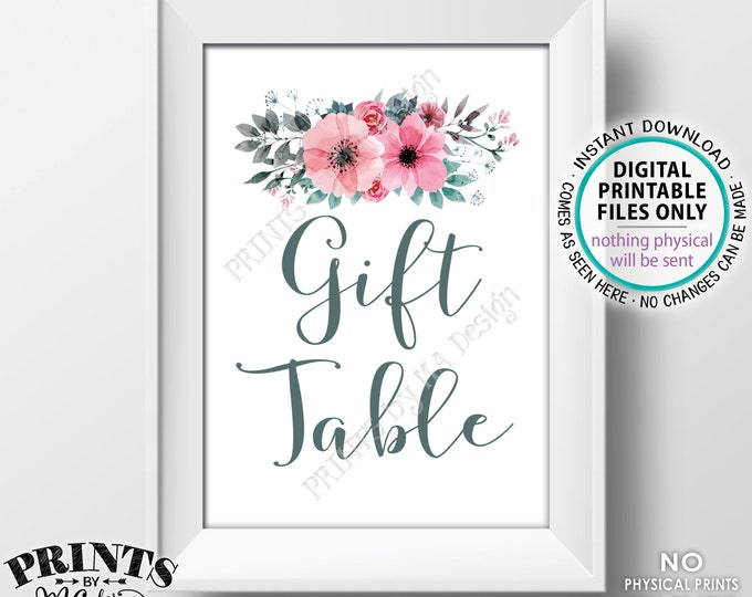 """Gift Table Sign, Pink Teal/Turquoise Gray Flowers Decor, Baby Shower, Bridal Shower Gifts, PRINTABLE 5x7"""" Watercolor Style Floral Sign <ID>"""