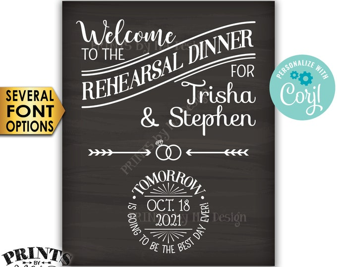 "Rehearsal Dinner Sign, Tomorrow is Going to Be The Best Day Ever, PRINTABLE 8x10/16x20"" Chalkboard Style Sign <Edit Yourself with Corjl>"
