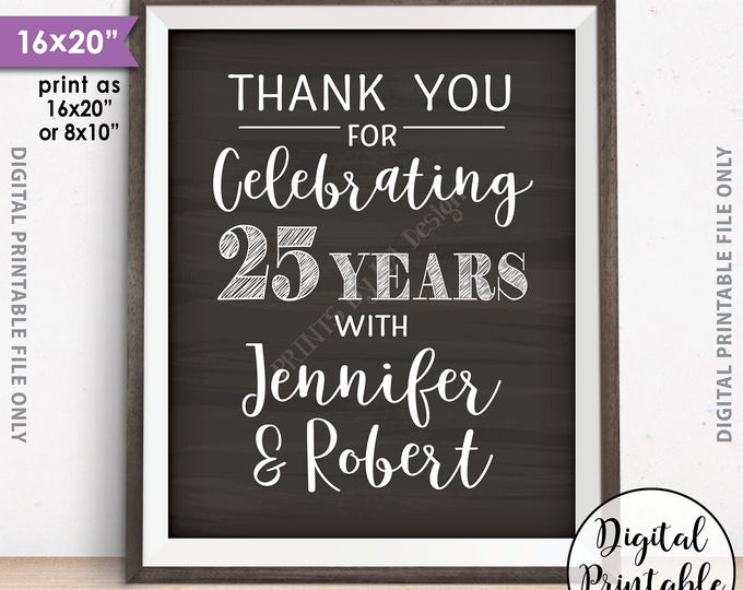 """Anniversary Party Sign, Thank You for Celebrating Anniversary Party Decoration, Gift Table, Chalkboard Style PRINTABLE 8x10/16x20"""" Sign"""