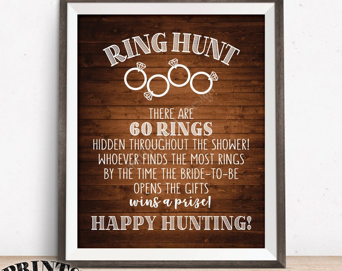 """Ring Hunt Game, Ring Hunt Sign, Bridal Shower Game Ring Scavenger Hunt Game for Wedding Shower, Rustic Wood Style PRINTABLE 8x10/16x20"""" Sign"""