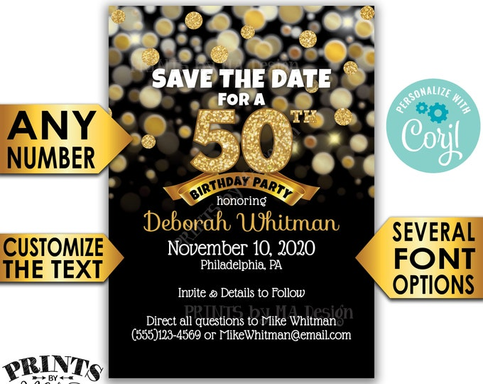 "Black & Gold Glitter Birthday Party Save the Date, PRINTABLE 5x7"" Golden Bday Invite <Edit Yourself with Corjl>"