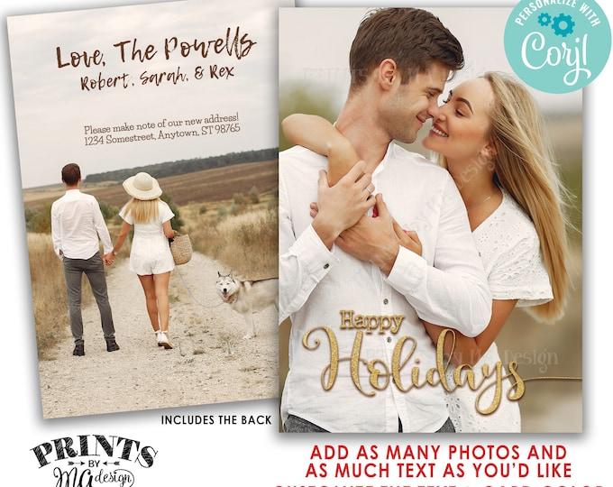 "Custom Holiday Card with Photos, Custom 2-sided PRINTABLE 5x7"" X-mas Card, Gold Glitter Happy Holidays <Edit Yourself w/Corjl>"