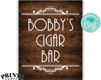 "Cigar Bar Sign, Man Cave Decoration, Custom PRINTABLE 8x10/16x20"" Brown Rustic Wood Style Sign <Edit Yourself with Corjl>"