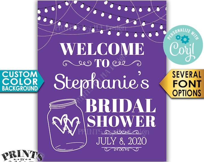 "Bridal Shower Welcome Sign, Lights & Jar Wedding Shower, Background Color, Custom PRINTABLE 8x10/16x20"" Sign <Edit Yourself with Corjl>"