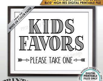 """Kids Favors Sign, Please Take One Wedding Reception Activities for Kids Favors for Kids Table, PRINTABLE 8x10"""" Instant Download Wedding Sign"""