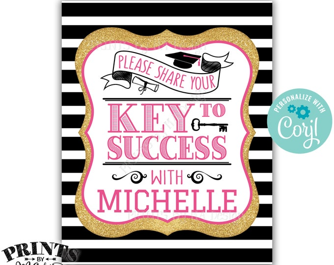 "Graduation Key to Success Sign, Black Pink & Gold Glitter PRINTABLE 8x10/16x20"" Graduation Party Decoration <Edit Yourself with Corjl>"