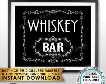 "Whiskey Bar Decor, Whiskey Bar Sign, Better with Age Vintage Whiskey Gift, Whisky Decor, Black & White PRINTABLE 8x10"" Whiskey Sign <ID>"