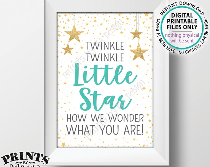 "Twinkle Twinkle Little Star Gender Reveal, How We Wonder What You Are, Baby Shower Decor, Teal/Gray/Gold Glitter PRINTABLE 5x7"" Sign <ID>"