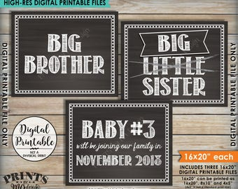 3rd Baby Pregnancy Announcement, Big Sister or Big Brother, New Sibling Joining Us, Baby Number 3 PRINTABLE Chalkboard Style  Baby #3 Signs