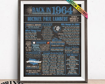 "1964 Birthday Flashback Poster, Remember 1964 Birthday Party Poster, Custom PRINTABLE 16x20"" Back in 1964 B-day Sign"