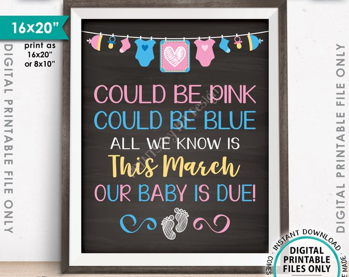 """Pregnancy Announcement, Could be Pink Could be Blue, Our Baby is Due in MARCH Dated Chalkboard Style PRINTABLE 16x20"""" Baby Reveal Sign <ID>"""
