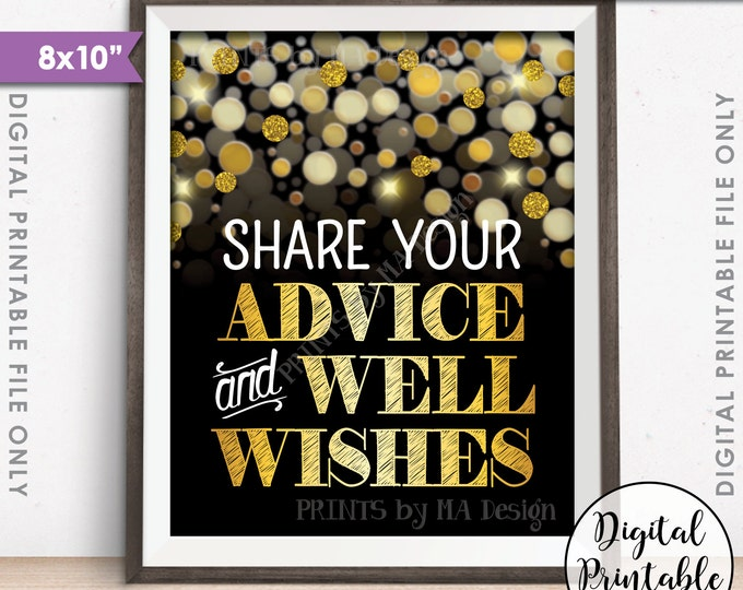 """Advice and Well Wishes Sign, Share Advice, Birthday Anniversary Retirement Graduation, Black & Gold Glitter Instant Download PRINTALE 8x10"""""""