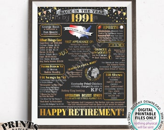 """Back in the Year 1991 Retirement Party Poster Board, Flashback to 1991 Sign, PRINTABLE 16x20"""" Retirement Party Decoration <ID>"""
