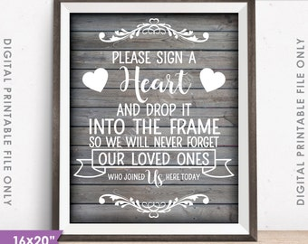 "Guestbook Hearts Sign, Sign a Heart Guest Book Alternative, Wooden Hearts, PRINTABLE 8x10/16x20"" Rustic Wood Style Wedding Heart Sign <ID>"