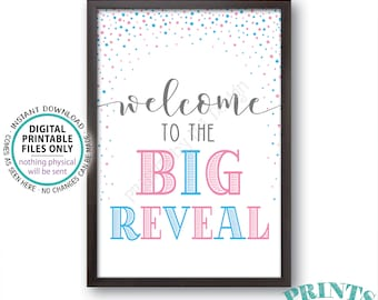 """Welcome to the Big Reveal Sign, Gender Reveal Party Sign, PRINTABLE 24x36"""" Gender Reveal Welcome Sign, Pink & Blue Confetti <ID>"""