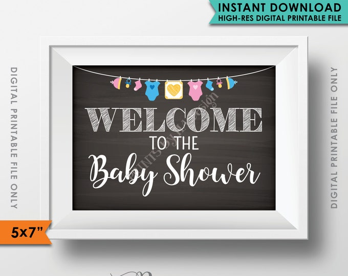 "Welcome to the Baby Shower Sign, Baby Shower Welcome Sign, Baby Shower Decor, Clothesline, 5x7"" Chalkboard Style Printable Instant Download"