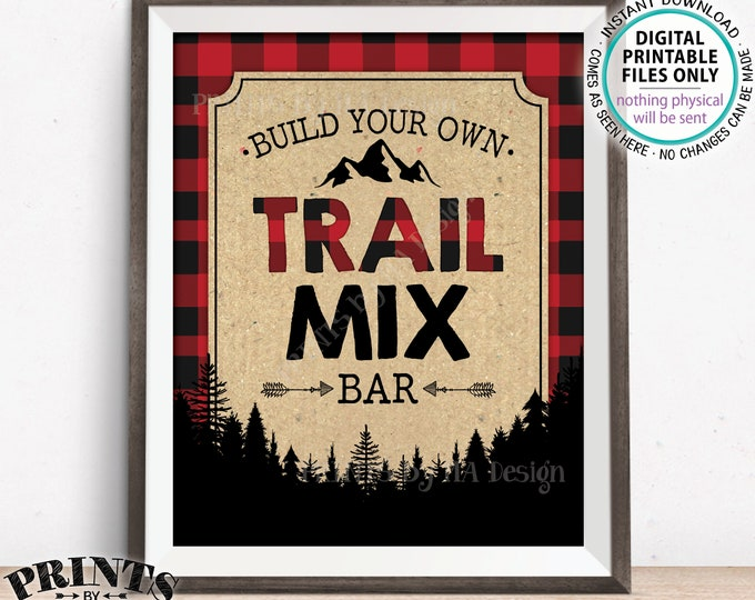 """Trail Mix Bar Sign, Build Your Own Trail Mix Lumberjack Style Trail Mix Sign, Red Checker Buffalo Plaid, PRINTABLE 8x10"""" Trail Mix Sign"""
