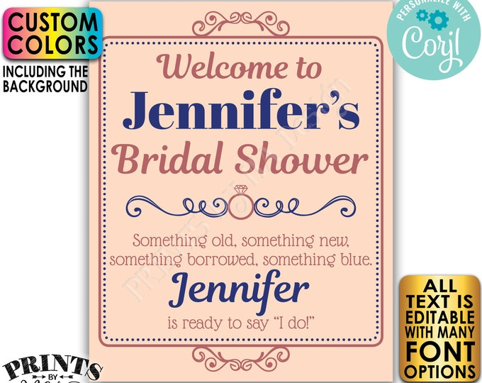 "Bridal Shower Welcome Sign, Editable Bridal Shower Sign, Custom PRINTABLE 8x10/16x20"" Decor <Edit Yourself with Corjl>"