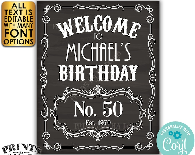 """Birthday Welcome Sign, Better with Age Whiskey Themed B-day Vintage Poster, PRINTABLE 16x20"""" Chalkboard Style Sign <Edit Yourself w/Corjl>"""