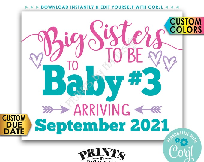 "Baby #3 Pregnancy Announcement, Big Sisters to 3rd Baby, PRINTABLE 8x10/16x20"" Baby Number 3 Sign, Third Child <Edit Yourself with Corjl>"