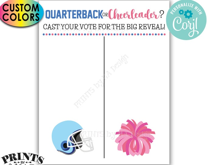 "Gender Reveal Party Voting Sign, Football Quarterback or Cheerleader Scoreboard, PRINTABLE 8x10/16x20"" Sign <Edit Colors Yourself w/Corjl>"